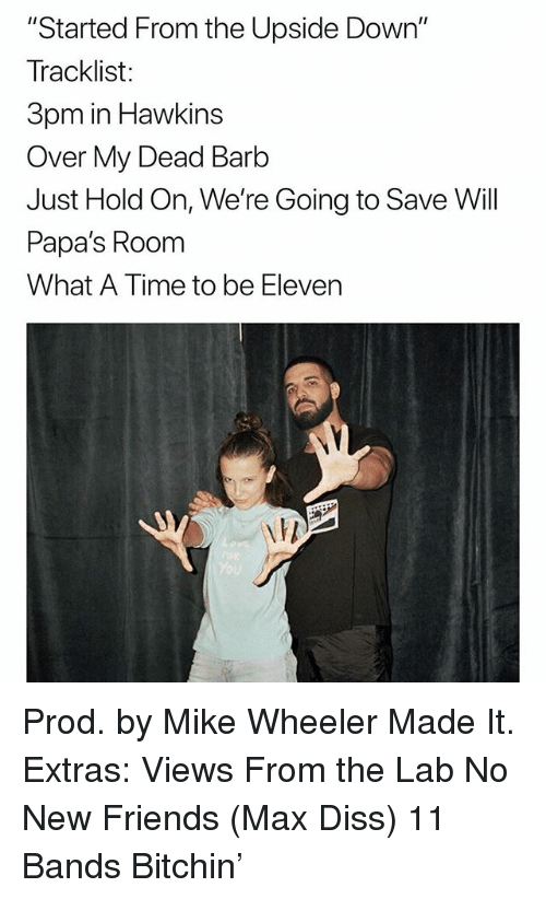 """Tracklist: """"Started From the Upside Down""""  Tracklist:  3pm in Hawkins  Over My Dead Barb  Just Hold On, We're Going to Save Will  Papa's Room  What A Time to be Eleven Prod. by Mike Wheeler Made It. Extras: Views From the Lab No New Friends (Max Diss) 11 Bands Bitchin'"""