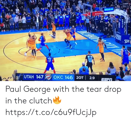 Memes, Paul George, and State Farm: State farm  28  17  UTAH 147  KC 146 | 20T | 2.9  ESPT Paul George with the tear drop in the clutch🔥 https://t.co/c6u9fUcjJp
