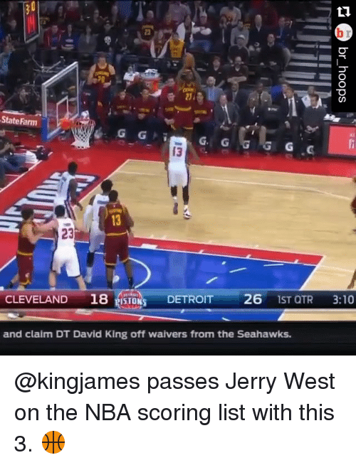 Nba Scores: State Farm  G. G  G G  23  CLEVELAND  18 ISTON DETROIT  26  1ST QTR  3:10  and claim DT David King off waivers from the Seahawks. @kingjames passes Jerry West on the NBA scoring list with this 3. 🏀