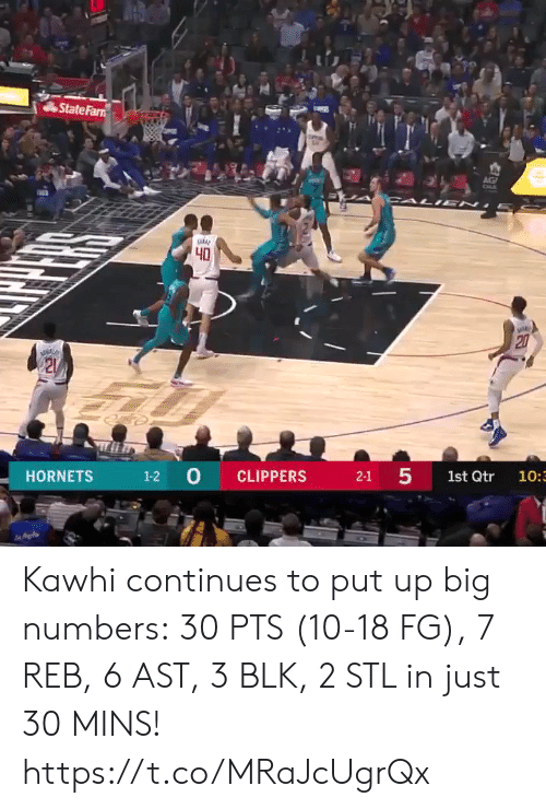 cali: State Farn  AG  CALI EN  40  20  21  1-2 0  5  CLIPPERS  HORNETS  2-1  1st Qtr  10:3  27 Kawhi continues to put up big numbers: 30 PTS (10-18 FG), 7 REB, 6 AST, 3 BLK, 2 STL in just 30 MINS!  https://t.co/MRaJcUgrQx