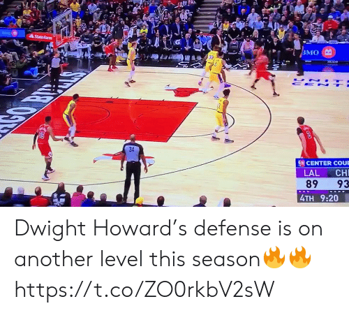 dwight: StateFarm  ВМО  UN  CE N  CENTER COUE  LAL  CH  89  93  4TH 9:20 Dwight Howard's defense is on another level this season🔥🔥 https://t.co/ZO0rkbV2sW