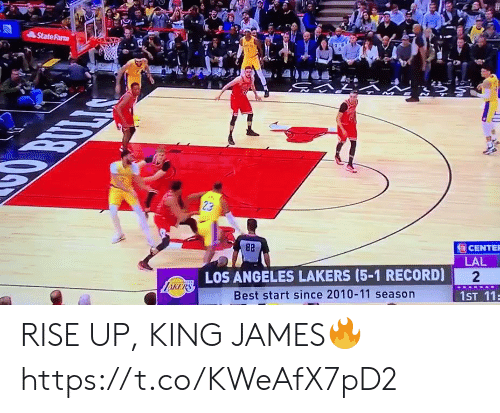 Los Angeles Lakers, Los-Angeles-Lakers, and Memes: StateFarm  OBULLAS  23  82  CENTER  LAL  LOS ANGELES LAKERS (5-1 RECORD)  2  LiKERS  Best start since 2010-11 season  1ST 11 RISE UP, KING JAMES🔥 https://t.co/KWeAfX7pD2