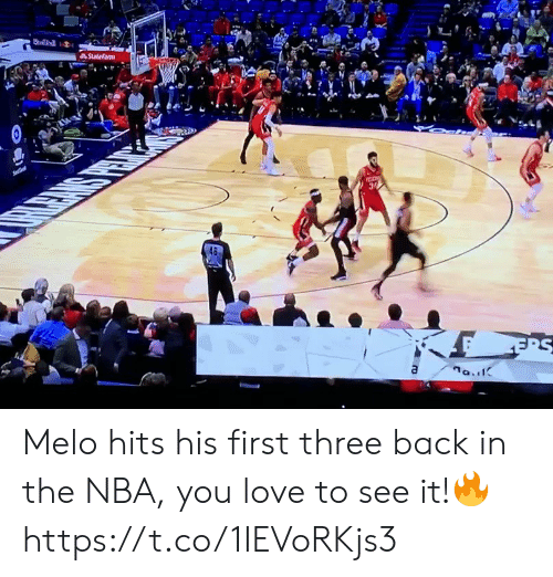 melo: Statefarm  Se  a Melo hits his first three back in the NBA, you love to see it!🔥 https://t.co/1IEVoRKjs3