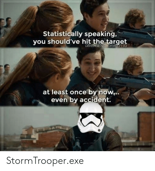 Reddit, Stormtrooper, and Target: Statistically speaking,  you should've hit the target  DIVERCENTNORWAIG  at least once by now,..  even by accident. StormTrooper.exe