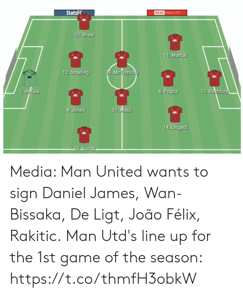 Memes, Game, and United: StatsFC  READ  MAN UTD  23. Shaw  11. Martial  12. Smalling  39. McTomin  uic  1. de Gea  6. Pogba  10. Rashfor  31. Matić  4. Jones  14. Lingard  8 Young Media: Man United wants to sign Daniel James, Wan-Bissaka, De Ligt, João Félix, Rakitic.  Man Utd's line up for the 1st game of the season: https://t.co/thmfH3obkW