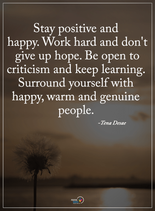 Memes, Work, and Happy: Stay positive and  happy. Work hard and don't  give up hope. Be open to  criticism and keep learning  Surround vourself with  happy, warm and genuine  people.  -Tena Desae  POSITIVE