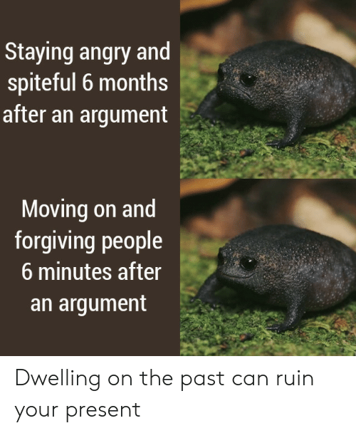 argument: Staying angry and  spiteful 6 months  after an argument  Moving on and  forgiving people  6 minutes after  an argument Dwelling on the past can ruin your present