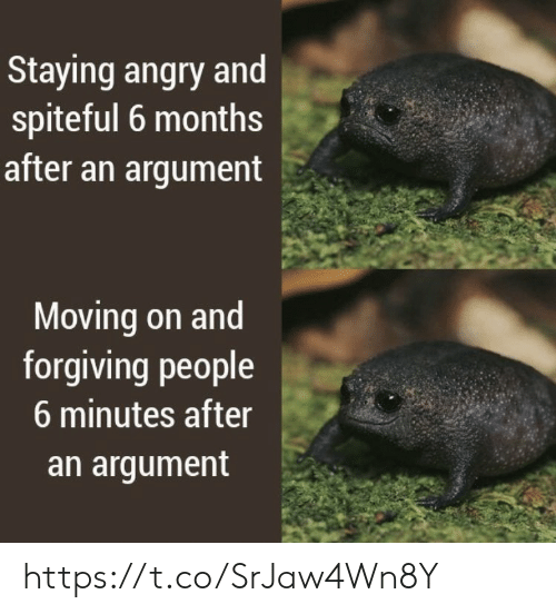 argument: Staying angry and  spiteful 6 months  after an argument  Moving on and  forgiving people  6 minutes after  an argument https://t.co/SrJaw4Wn8Y