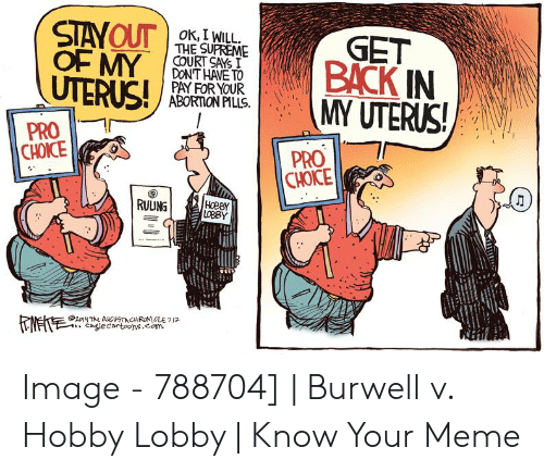 Burwell V: STAYOUT  OF MY  UTERUS!  OK, I WILL  THE SUPREME  COURT SAYS I  DON'T HAVE TO  PAY FOR YOUR  ABORTION PILLS  GET  BACK IN  MY UTERUS!  PRO  CHOICE  PRO  CHOICE  HOBBY  LOBBY  RULUNG  24T ANGUTCHRONLE712  calecartoons.com Image - 788704] | Burwell v. Hobby Lobby | Know Your Meme