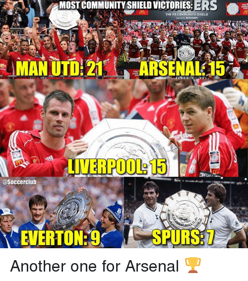 Another One, Arsenal, and Community: STCOMMUNITY SHIELD VICTORIES:ERS  0%  THE FA COMMUNITY SHIELD  @Soccerclub  EVERTON  SPURS:7 Another one for Arsenal 🏆