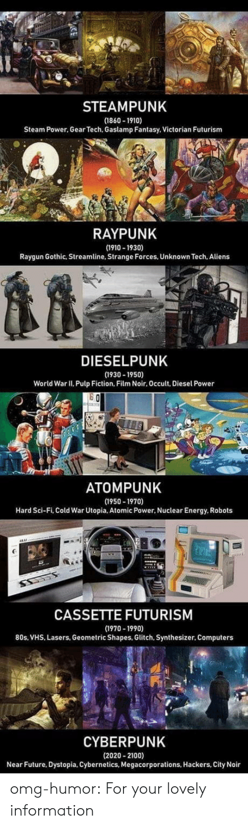 80s, Computers, and Energy: STEAMPUNK  (1860-1910)  Steam Power, Gear Tech, Gaslamp Fantasy, Victorian Futurism  RAYPUNK  (1910-1930)  Raygun Gothic, Streamline, Strange Forces, Unknown Tech. Aliens  DIESELPUNK  (1930-1950)  World War II. Pulp Fiction, Film Noir, Occult, Diesel Power  ATOMPUNK  (1950-1970)  Hard Sci-Fi, Cold War Utopia, Atomic Power, Nuclear Energy, Robots  CASSETTE FUTURISM  (1970-1990)  80s, VHS, Lasers, Geometric Shapes, Glitch, Synthesizer. Computers  CYBERPUNK  (2020-2100)  Near Future, Dystopia, Cybernetics, Megacorporations, Hackers, City Noir omg-humor:  For your lovely information