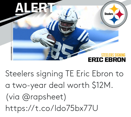 year: Steelers signing TE Eric Ebron to a two-year deal worth $12M. (via @rapsheet) https://t.co/ldo75bx77U