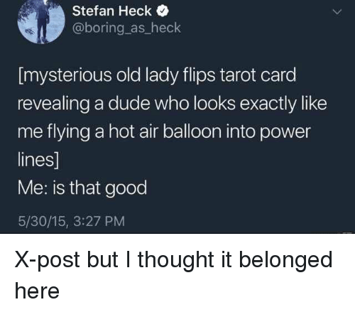 Flips: Stefan Heck  @boring as_heck  [mysterious old lady flips tarot card  revealing a dude who looks exactly like  me flying a hot air balloon into power  lines]  Me: is that good  5/30/15, 3:27 PM X-post but I thought it belonged here