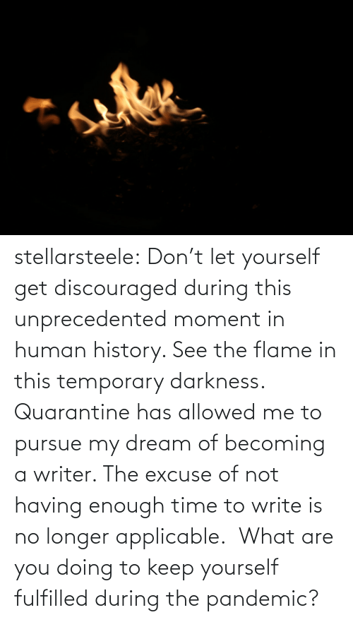Are: stellarsteele: Don't let yourself get discouraged during this unprecedented moment in human history. See the flame in this temporary darkness.  Quarantine has allowed me to pursue my dream of becoming a writer. The excuse of not having enough time to write is no longer applicable.  What are you doing to keep yourself fulfilled during the pandemic?