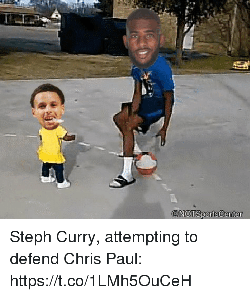 Chris Paul, Sports, and Steph Curry: Steph Curry, attempting to defend Chris Paul: https://t.co/1LMh5OuCeH