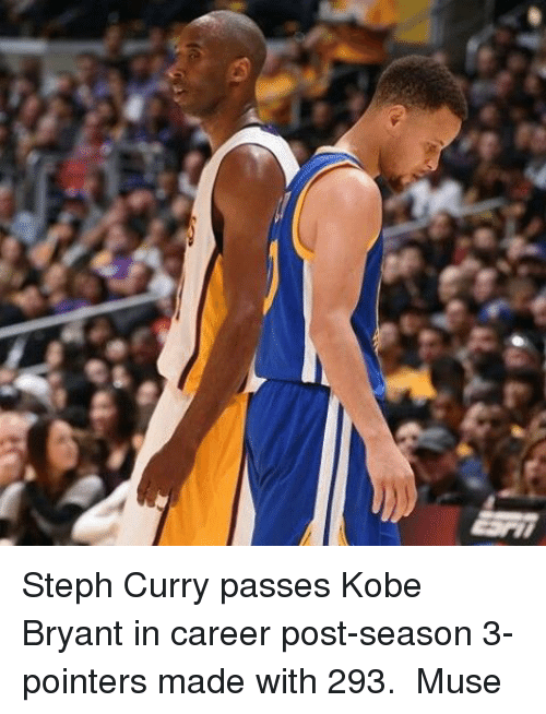 musings: Steph Curry passes Kobe Bryant in career post-season 3-pointers made with 293.  Muse