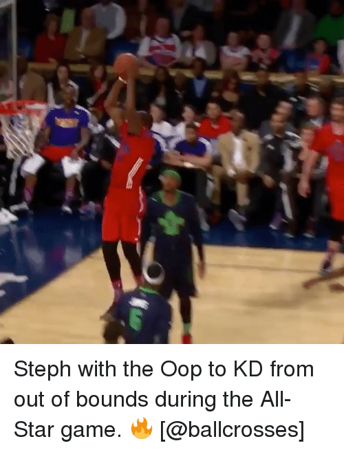 Oopes: Steph with the Oop to KD from out of bounds during the All-Star game. 🔥 [@ballcrosses]