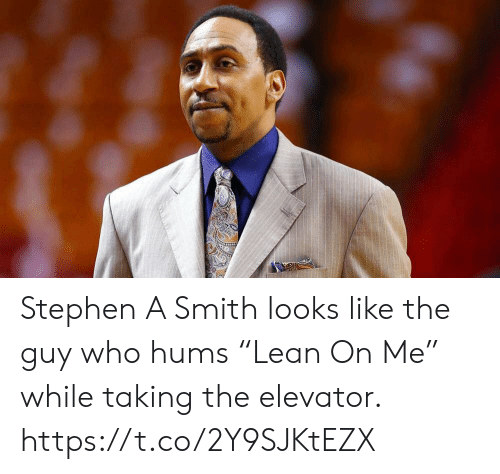 """Sports, Stephen, and Stephen A. Smith: Stephen A Smith looks like the guy who hums """"Lean On Me"""" while taking the elevator. https://t.co/2Y9SJKtEZX"""