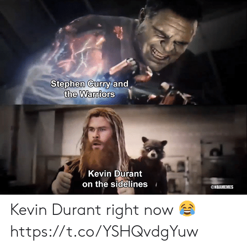 Kevin Durant, Memes, and Stephen: Stephen Cury and  the Warriors  Kevin Durant  on the sidelines  @NBAMEMES Kevin Durant right now 😂 https://t.co/YSHQvdgYuw
