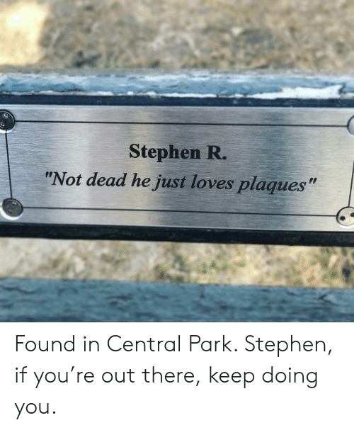 "Stephen, Central Park, and Park: Stephen R.  ""Not dead he just loves plaques"" Found in Central Park. Stephen, if you're out there, keep doing you."