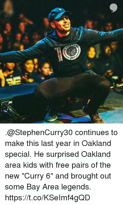 "Memes, Free, and Kids: .@StephenCurry30 continues to make this last year in Oakland special. He surprised Oakland area kids with free pairs of the new ""Curry 6"" and brought out some Bay Area legends. https://t.co/KSeImf4gQD"