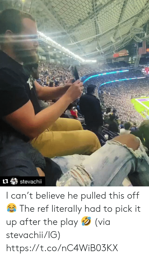 The Play, The Ref, and Can: stevachii I can't believe he pulled this off 😂  The ref literally had to pick it up after the play 🤣 (via stevachii/IG) https://t.co/nC4WiB03KX
