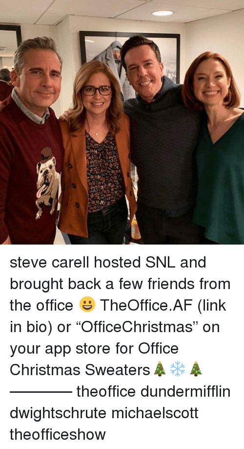 """Af, Christmas, and Friends: steve carell hosted SNL and brought back a few friends from the office 😀 TheOffice.AF (link in bio) or """"OfficeChristmas"""" on your app store for Office Christmas Sweaters🎄❄️🎄 ———— theoffice dundermifflin dwightschrute michaelscott theofficeshow"""