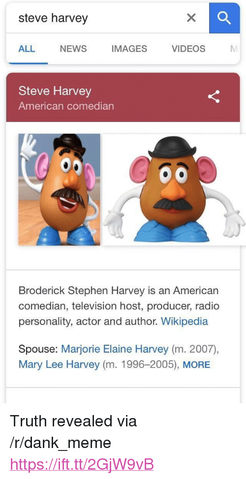 "Dank, Meme, and News: steve harvey  ALL  NEWS  IMAGES VIDEOS M  Steve Harvey  American comedian  Broderick Stephen Harvey is an American  comedian, television host, producer, radio  personality, actor and author. Wikipedia  Spouse: Marjorie Elaine Harvey (m. 2007),  Mary Lee Harvey (m. 1996-2005), MORE <p>Truth revealed via /r/dank_meme <a href=""https://ift.tt/2GjW9vB"">https://ift.tt/2GjW9vB</a></p>"