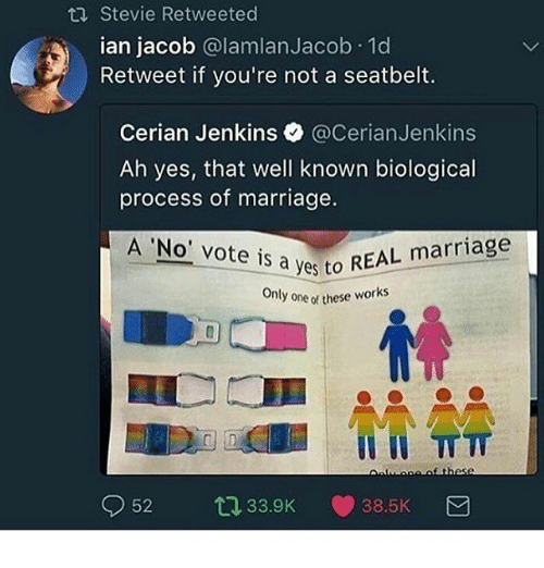 Procession: Stevie Retweeted  ian jacob @lamlanJacob.1d  Retweet if you're not a seatbelt.  Cerian Jenkins @CerianJenkins  Ah yes, that well known biological  process of marriage.  A 'No' vote is a ves to REA  Only one of these works  52 33.9K ·38.5K