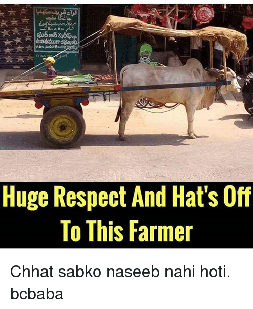 Memes, Respect, and 🤖: STICK  Huge Respect And Hat's Off  To This Farmer Chhat sabko naseeb nahi hoti. bcbaba