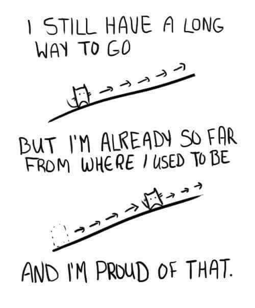 Way To Go: STILL HAVE A LONG  WAY TO GO  BUT IM ALREADY SO FAR  FROM WHERE USED To BE  AND IM PROuD oF THAT.