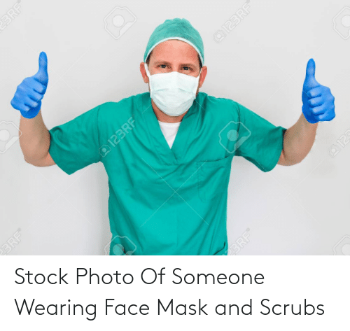 Scrubs: Stock Photo Of Someone Wearing Face Mask and Scrubs