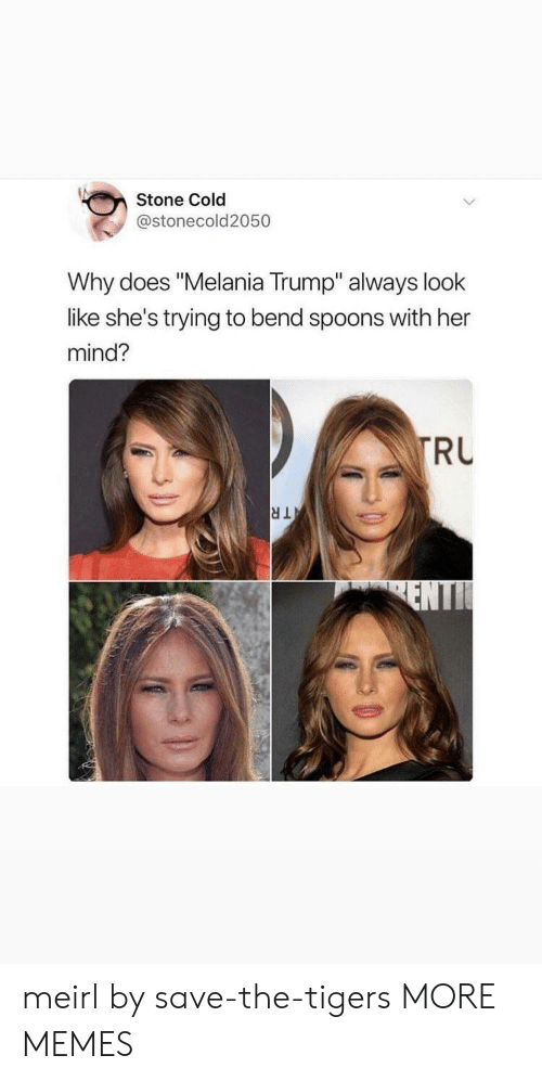 "Melania Trump: Stone Cold  @stonecold2050  Why does ""Melania Trump"" always look  like she's trying to bend spoons with her  mind?  RU meirl by save-the-tigers MORE MEMES"