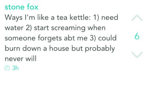 House, Water, and Never: stone fo>x  Ways I'm like a tea kettle: 1) need  water 2) start screaming when  someone forgets abt me 3) could6  burn down a house but probably  never will