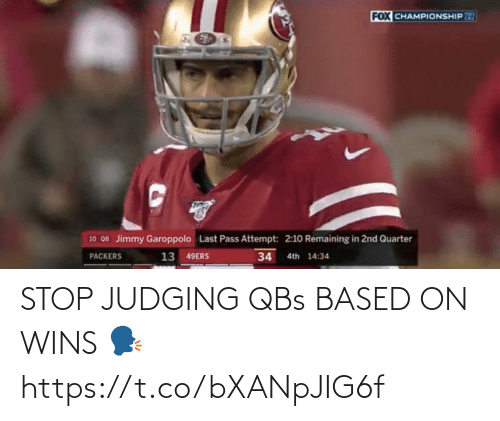 judging: STOP JUDGING QBs BASED ON WINS 🗣 https://t.co/bXANpJIG6f