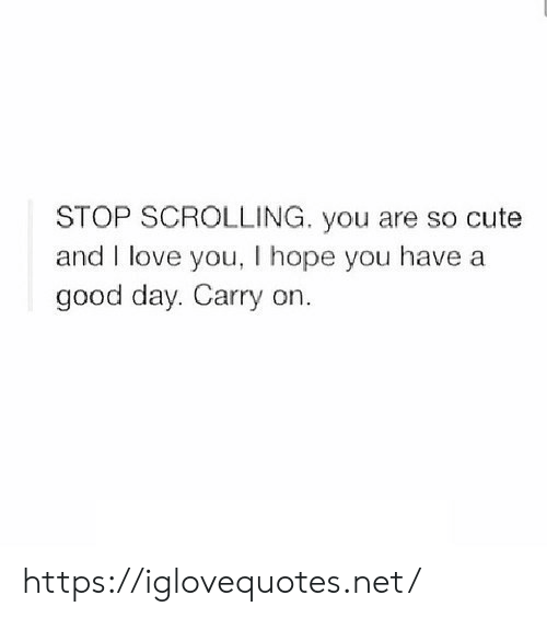 Cute, Love, and I Love You: STOP SCROLLING. you are so cute  and I love you, I hope you have a  good day. Carry on https://iglovequotes.net/