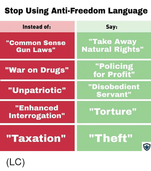 "war on drugs: Stop Using Anti-Freedom Language  Instead of:  Say:  ""Common Sense  Gun Laws""  ""Take Away  Natural Rights""  ""Policing  for Profit""  ""Disobedient  Servant""  ""War on Drugs""  ""Unpatriotic""  ""Enhanced  Interrogation""  ""Torture  ""Taxation""""Theft"" (LC)"