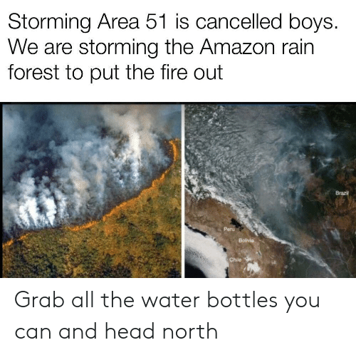 Brazil: Storming Area 51 is cancelled boys.  We are storming the Amazon rain  forest to put the fire out  Brazil  Peru  Bolivia  Chile Grab all the water bottles you can and head north