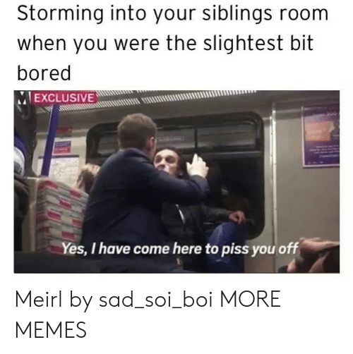 Bored, Dank, and Memes: Storming into your siblings room  when you were the slightest bit  bored  IEXCLUSIVEw!  muum  Yes, I have come here to piss you off Meirl by sad_soi_boi MORE MEMES