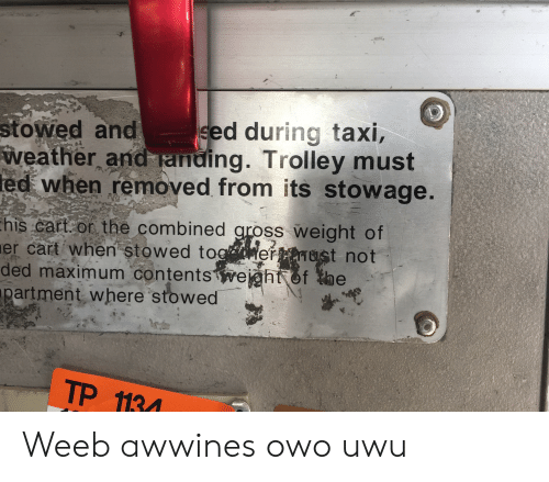 Reddit, Taxi, and Weather: stowed and  weather and anding. Trolley must  ed when removed from its stowage.  sed during taxi,  4  his cart or the combined gross weight of  er cart when stowed togaerptnust not  ded maximum contents wejght of the  partment where stowed  TP 1134 Weeb awwines owo uwu