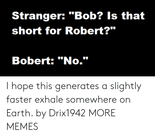 "Dank, Memes, and Target: Stranger: ""Bob? Is that  short for Robert?""  Bobert: ""No."" I hope this generates a slightly faster exhale somewhere on Earth. by Drix1942 MORE MEMES"