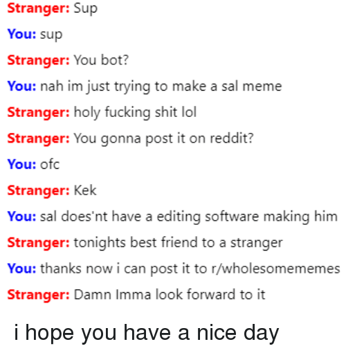 holy fucking shit: Stranger: Sup  You: sup  Stranger: You bot?  You: nah im just trying to make a sal meme  Stranger: holy fucking shit lol  Stranger: You gonna post it on reddit?  You: ofc  Stranger: Kek  You: sal does'nt have a editing softw  Stranger: tonights best friend to a stranger  You: thanks now i can post it to r/wholesomememes  are making him  Stranger: Damn Imma look fornward to it i hope you have a nice day