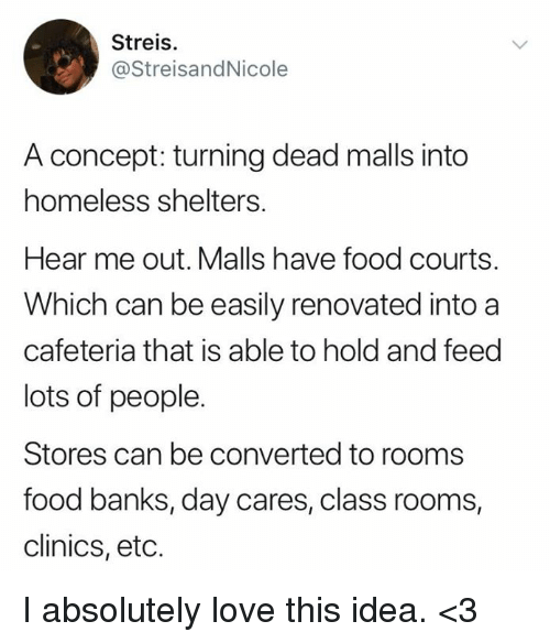Lots Of People: Streis.  @StreisandNicole  A concept: turning dead malls into  homeless shelters.  Hear me out. Malls have food courts.  Which can be easily renovated into a  cafeteria that is able to hold and feed  lots of people.  Stores can be converted to rooms  food banks, day cares, class rooms,  clinics, etc. I absolutely love this idea. <3