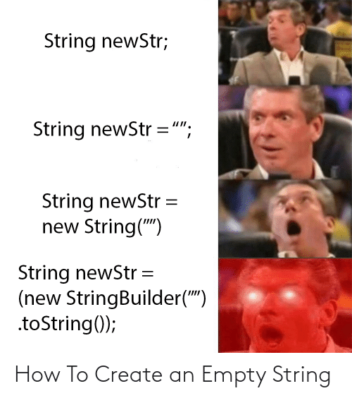 "create: String newStr;  String newStr ="";  String newStr  new String("")  String newStr =  (new StringBuilder("")  .toString(); How To Create an Empty String"