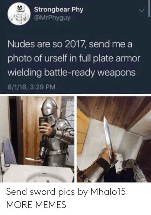 Dank, Memes, and Nudes: Strongbear Phy  @MrPhyguy  Nudes are so 2017, send me a  photo of urself in full plate armor  wielding battle-ready weapons  8/1/18, 3:29 PM Send sword pics by Mhalo15 MORE MEMES