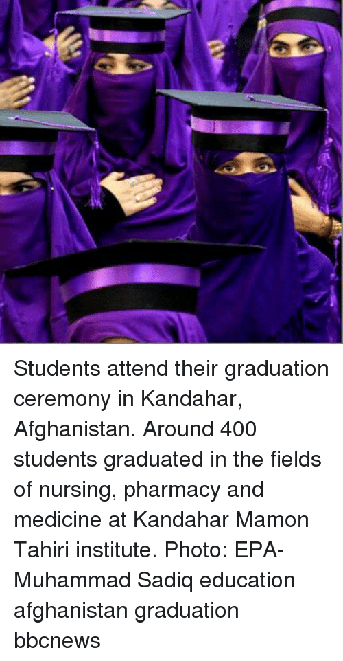 Nursing: Students attend their graduation ceremony in Kandahar, Afghanistan. Around 400 students graduated in the fields of nursing, pharmacy and medicine at Kandahar Mamon Tahiri institute. Photo: EPA-Muhammad Sadiq education afghanistan graduation bbcnews