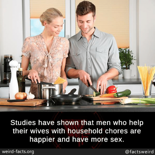 Facts, Memes, and Sex: Studies have shown that men who help  their wives with household chores are  happier and have more sex.  weird-facts.org  @factsweird