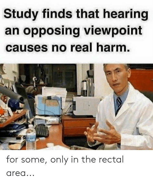 Memes, 🤖, and Real: Study finds that hearing  an opposing viewpoint  causes no real harm for some, only in the rectal area...
