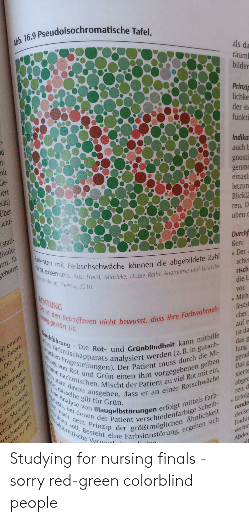 Nursing: Studying for nursing finals - sorry red-green colorblind people
