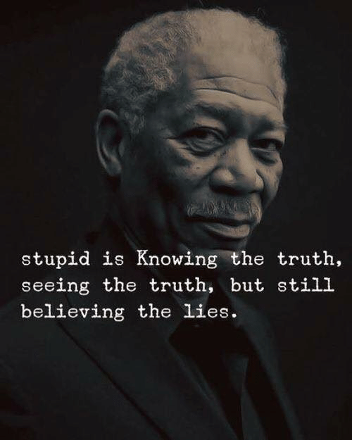 Truth, Knowing, and Still: stupid is Knowing the truth  seeing the truth, but still  believing the lies.